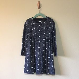 Gap 4T blue sweater dress with hearts